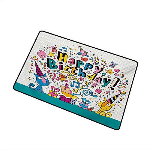 Front Door Mat Large Outdoor Indoor Kids Birthday Math Note Pad Inspired Design Cartoon Style Animals Cats Present Image W35 xL59 Mildew Proof