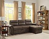 Lilola Home LILOLA Ashton Microfiber Reversible Sleeper Sectional Sofa Saddle Brown