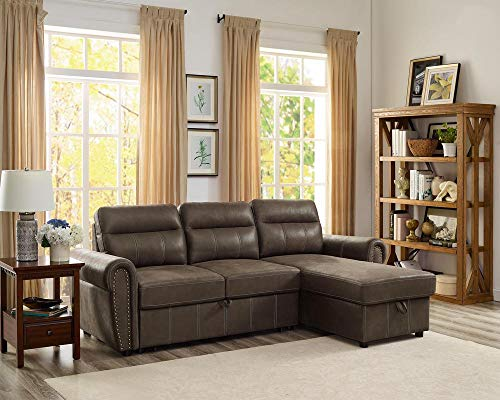 Lilola Home Ashton Saddle Brown Microfiber Reversible Sleeper Sectional Sofa Storage Chaise