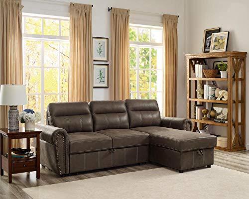 Lilola Home Ashton Saddle Brown Microfiber Reversible Sleeper Sectional Sofa Storage Chaise