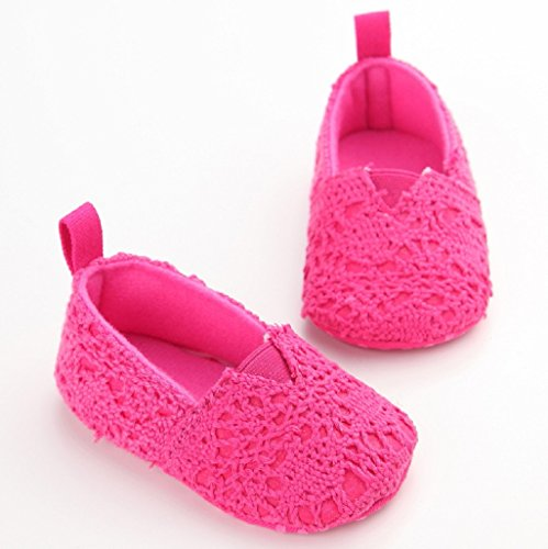 Por 0-18 Mes Auxma Zapatos de bebé Zapatos de cuna suave Sole zapatos de otoño de verano recién nacidos Rosa caliente