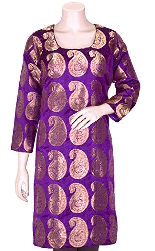 Brocade Kurta - Beautiful Handloom Jacquard Art Silk Foliage Design Tunic/Top/Party-Wear Dress HMK172070 (Purple, XL)
