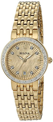 Bulova Women's Quartz and Stainless-Steel Casual Watch, Color:Gold-Toned (Model: 98R212) - Bulova Gold Tone Diamond Watch