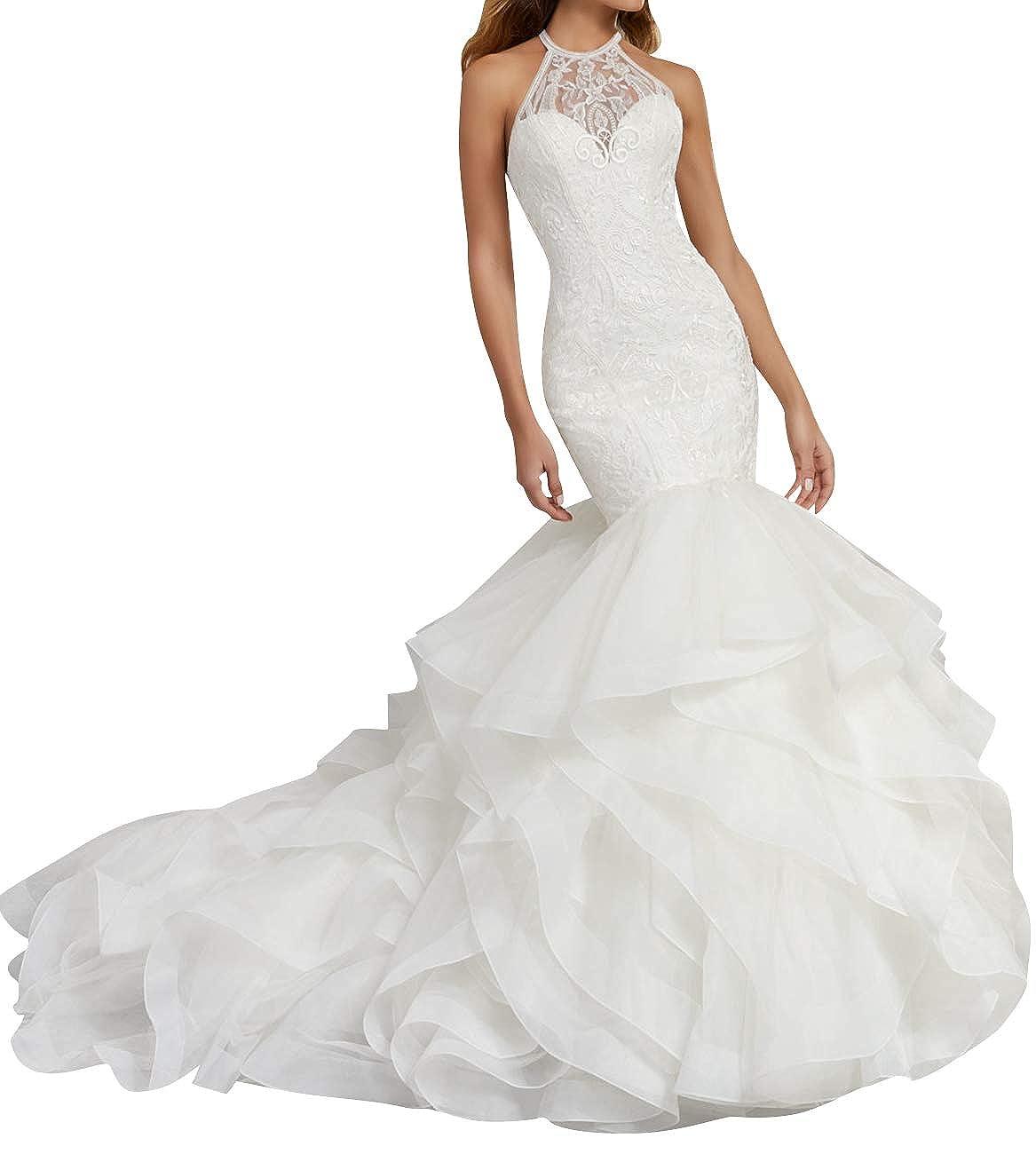 JAEDEN Wedding Dress Lace Halter Bride Dresses Mermaid Wedding Gown Trumpet Ruffles CL000352