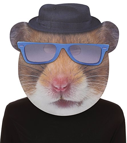 UHC Hip Hop Hamster Blue Glasses Comical Theme Party Halloween Costume Mask ()