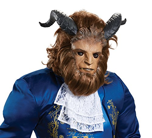 Costume Man Beast (Disney Men's Beast Ultra Prestige Mask, Brown, One)