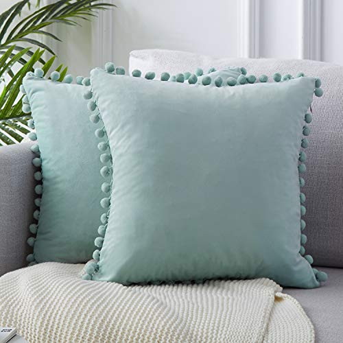 Top Finel Decorative Throw Pillow Covers for Couch Bed Soft Particles Velvet Solid Cushion Covers with Pom-poms 18 x 18 Inch 45 x 45 cm, Pack of 2, Light - 18 Light X 18