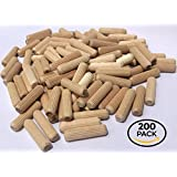 """200 Pack 3/8"""" x 1 1/2"""" Wooden Dowel Pins Wood Kiln Dried Fluted and Beveled, Made of Hardwood in U.S.A."""