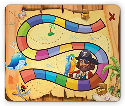 (Ambesonne Nursery Activity Mouse Pad, Treasure Hunt in The Adventure of The Pirate Cove Cartoon Drawing Style, Standard Size Rectangle Non-Slip Rubber Mousepad, Multicolor)