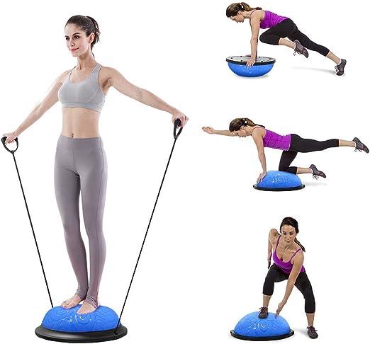 ATIVAFIT Entrenador de Equilibrio de Media Pelota con Correas para Yoga, balón de Equilibrio Antideslizante para Entrenamiento en casa, Fitness, ...
