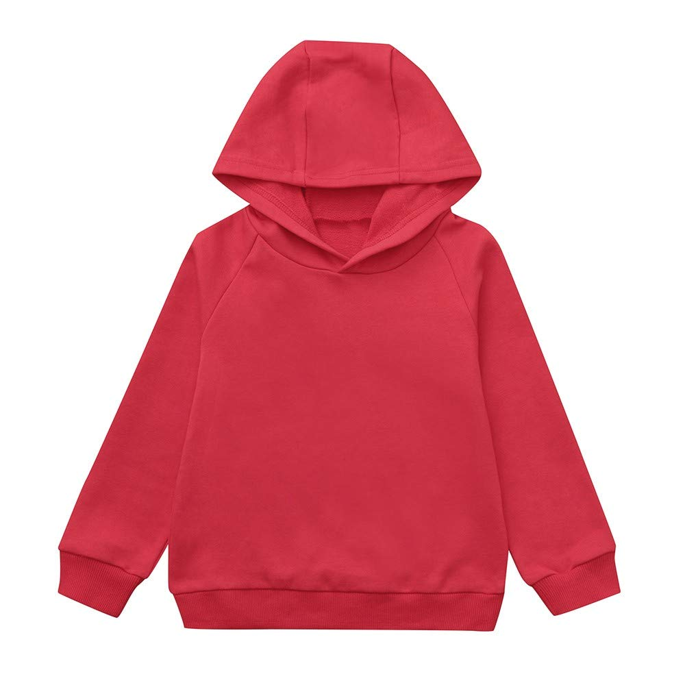 Autumn Children Kid Boy Solid Pocket Pullover Hooded Hoodie Outfits Tops Clothes YanHoo 2-7T Red, White