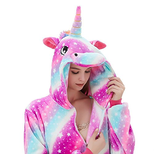 ABENCA Fleece Onesie Pajamas for Women Adult Cartoon Animal Unicorn Christmas Halloween Cosplay Onepiece Costume, Unicorn Sky New, L -