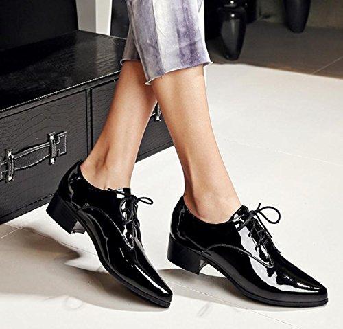 Cuero De Los Señaló Mujeres Tacón Zapatos Nuevas Las Primera Capa Black qtxwA5Px