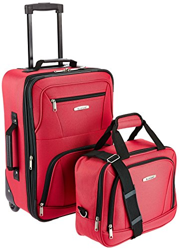 Rockland Luggage 2 Piece Printed Luggage Set, Red, Medium