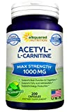 Cheap Pure Acetyl L-Carnitine 1000mg Max Strength – 200 Capsules – High Potency Acetyl L Carnitine HCL (ALCAR) Supplement Pills to Support Energy, Brain Function & Fatty Acid Metabolism