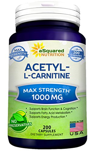 Pure Acetyl L-Carnitine 1000mg Max Strength - 200 Capsules - High Potency Acetyl L Carnitine HCL (ALCAR) Supplement Pills To Support Energy, Brain Function & Fatty Acid Metabolism (L-cysteine 500 Caps 30 Mg)