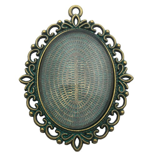 6 Sets 40x30mm Oval Clear Glass Cabochon Covers and Bronze Green Patina Alloy Blank Pendant Trays Cabochon Frame Base Settings (Green Patina C8195)