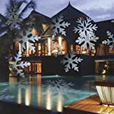 GESIMEI LED Flood Lights Indoor/Outdoor Moving Snowflake Landscape Projector Lamp Christmas Tree Garden Patio Stage House Decoration (White)