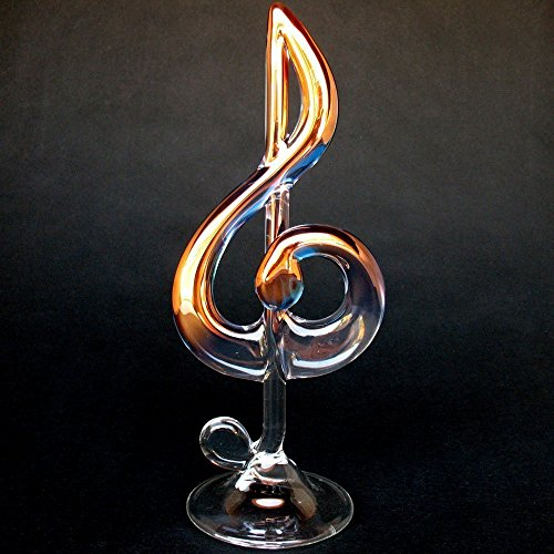 Treble G Clef Figurine of Hand Blown Glass
