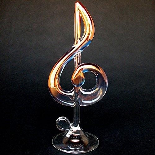Treble G Clef Figurine of Hand Blown Glass
