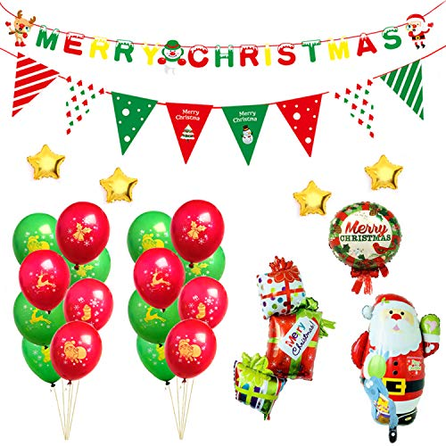 Wintoo 25 PCS Christmas Balloons Party Supplies, All in one Colorful Banners Aluminum Foil Balloons with A Free Hand Pump for Christmas Indoor Outdoor Decoration