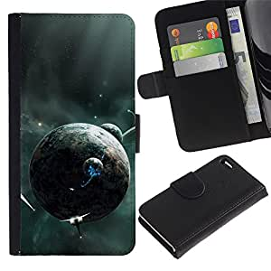 Billetera de Cuero Caso Titular de la tarjeta Carcasa Funda para Apple Iphone 4 / 4S / Sci Fi Planet / STRONG