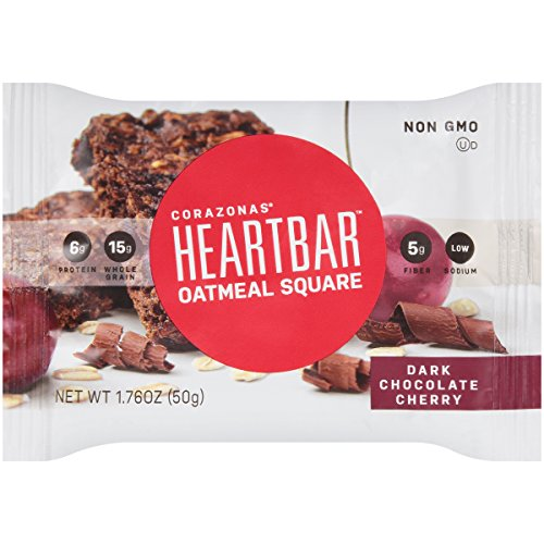 - Heartbar Oatmeal Square, Dark Chocolate Cherry, 1.76 Ounce, 12 Count