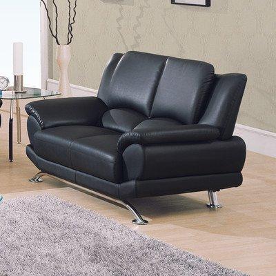 Global Furniture USA Bonded Leather Loveseat w Chrome Base