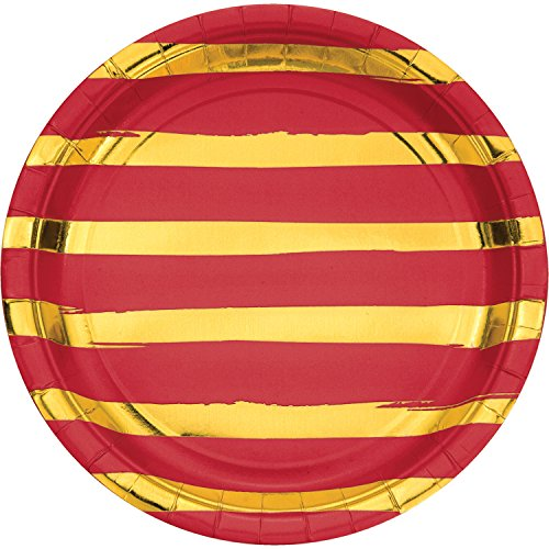 Classic Red and Gold Foil Striped Paper Plates, 24 ct