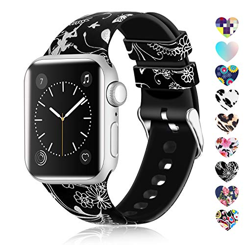 Lwsengme Compatible with Apple Watch Band 38mm 40mm 42mm 44mm, Soft Silicone Replacment Sport Bands Compatible with iWatch Series 5,Series 4,Series 3,Series 2,Series 1 (Flower-4, 42MM/44MM) (Fashion Rubber Bands)