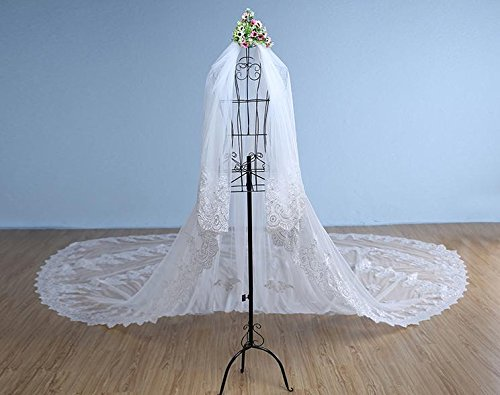 Lydia Wedding veil long lace bride hand veil hand-dressing long tail march veil + comb , white , 5m