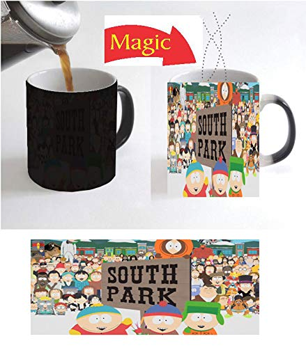 SOUTH American Adult Annimated Comedy PARK Image on BLACK CERAMIC Coffee Magic Mug Heat Sensitive Color Changing Christmas Xmas Halloween Kids Gift with FREE Wooden Key Chain Same -