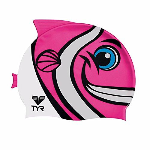 TYR Kid's Charac Happy Fish Swim Cap, Pink (Nemo Swim Cap)