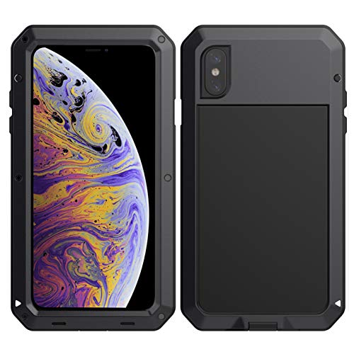 Drop Metal (iPhone Xs max Case,with Built-in Screen Protector,Metal,Heavy Duty,360 Protection,Full Body,Military Grade,Waterproof Shockproof Drop Proof Case Cover for iPhone Xs max 6.5 (Black))
