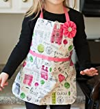 Handmade Little Girl Pink Paris Apron Gift for Kitchen Art Play