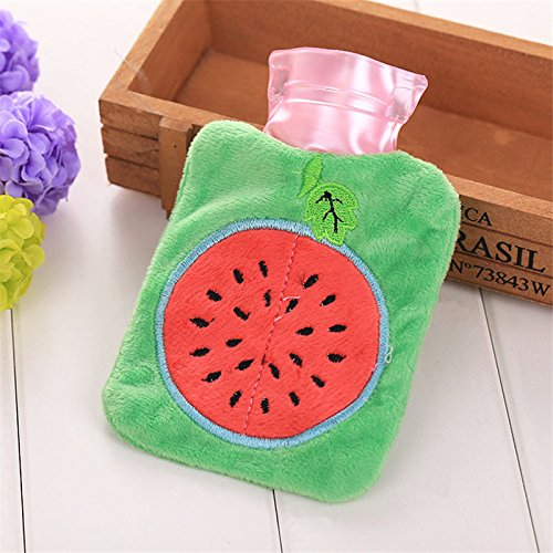 Cute Plush Cartoon Thick Hot Water Bottle Bag Warm Relaxing Heat Cold Therapy Watermalon