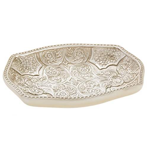 Creative Scents Victoria Soap Dish for Bathroom, Decorative Dry Bar Holder- Durable Resin Design- Best Dishes for Sink/ Bath/ Shower/ Bathtub Décor- Complements Any Space (Dishes Decorative)