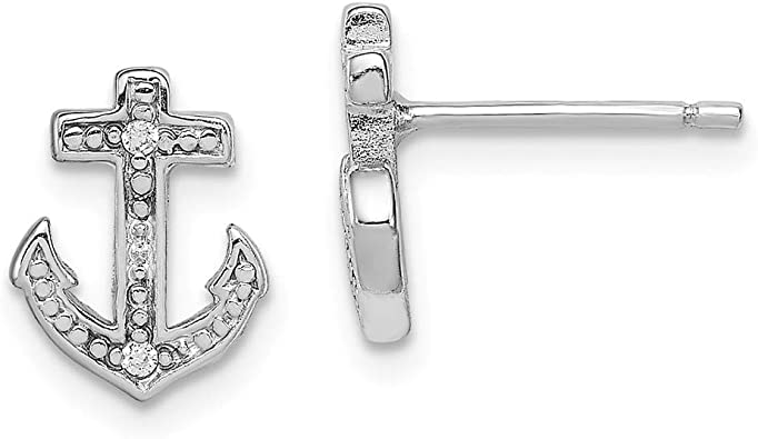Solid 925 Sterling Silver Polished CZ Cubic Zirconia Anchor Mariner Pendant