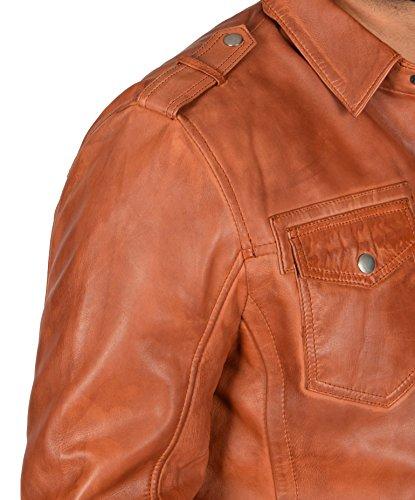 Rufus Occidentale Uomo Classico Pelle Giacca Di Cappotto Del Cognac Camionista Vera Stile WZwRvq88g