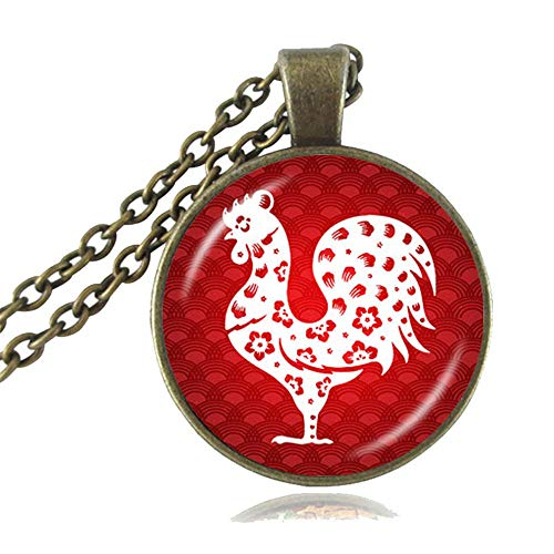 (LUOR Trade Co.,Ltd The Chinese Zodiac Pendant Necklace, Good Luck Charm Accessories, Animal Jewelry, Year of The Pig, Rat, Ox, Tiger, Rabbit, Dragon Choker, Birthday Gifts (Rooster, Antique Bronze))