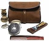 Men's Deluxe Travel Doppler Grooming Shaving Set - Horn Edition - Pure Badger Shaving Brush, Stand, Fusion Razor with Case, Travel Soap + Leather Brown Toiletry Bag