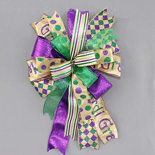 - Mardi Gras Harlequin Stripe Dot Funky Wreath Bow - 10
