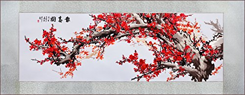 (Grace Art, Extra Large, Oblong Asian Silk Embroidery Art Wall Hanging, Wide Format, Plum Blossom)