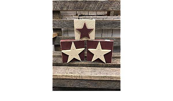4 1//2 X 4 1//2 Star Wood Blocks SET of THREE Farmhouse Primitive Americana Country Rustic Home Decor Tabletop Shelf Ornament July 4 Patriotic Stars and Stripes SIZE
