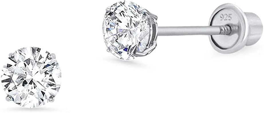 925 Sterling Silver Rhodium-plated CZ Star Post Earrings