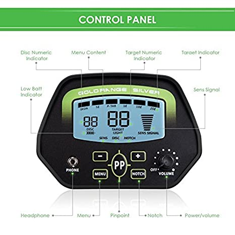 Amzdeal – Detector de metales profesional cubierta impermeable, dispositivo detector de metales con función de identificación y alta sensibilidad (con pala ...