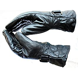 Alexvyan Men's Soft Leather Snow Proof Winter Riding Gloves for Cycling, Motorcycle (Black, Free Size)