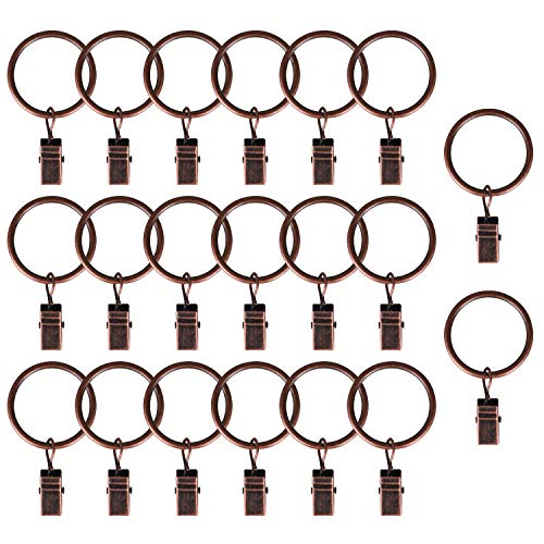 AMAZECO Curtain Clips Rings Strong Metal Decorative Drapery Window Curtain Ring with Clip Rustproof 1.26 Inch Vintage Copper Color Pack of 20