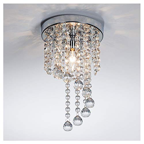 POPILION Modern Chrome Finish Rain Drop Ball Beads Crystal Ceiling Light Chandelier,Rotated Crystal Lamp For Dining Room Bedroom Livingroom