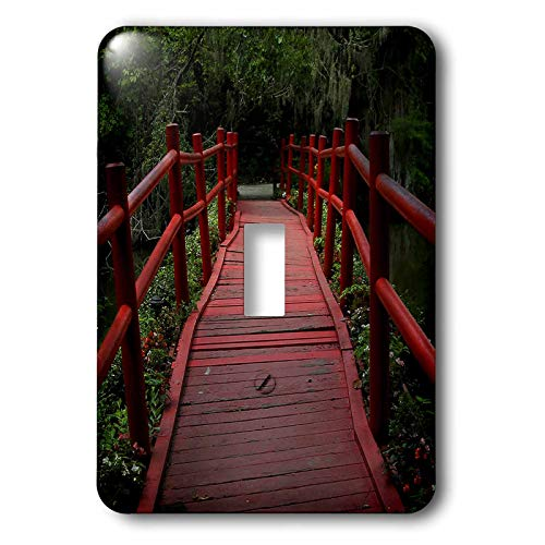 3dRose Stamp City - architecture - Photograph of red path bridge at Magnolia Plantation and Gardens. - Light Switch Covers - single toggle switch (lsp_290774_1)